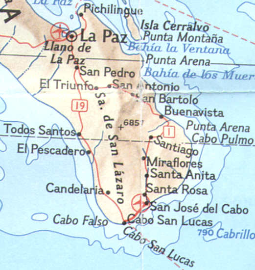 Map of Southern Baja...La Paz to Los Cabos